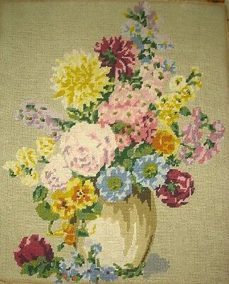 Vintage Penelope Cross Stitch Tapestry Picture Unframed Floral Display