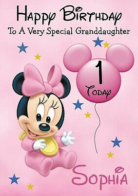 personalised  Birthday card Mickey Mouse Baby any name//any//age.