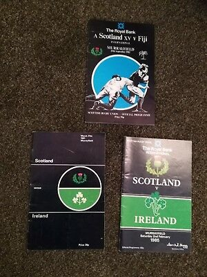 scotland rugby programmes (Ireland 81 and 85, Fiji 82)