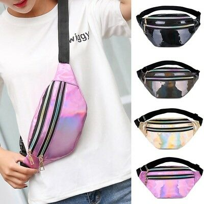 Uk Women Travel Waist Fanny Pack Holiday Money Belt Wallet Glitter Bum Bag Pouch