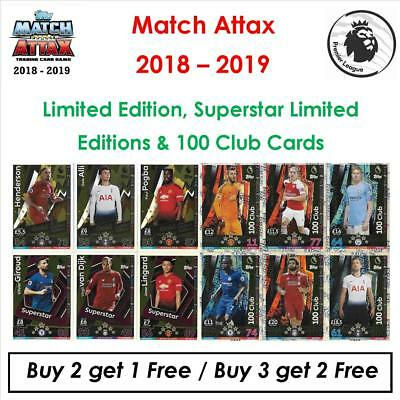 Match Attax 2018-2019 / 18 - 19: 100 Club & Limited Editions (Buy 2:Get 1 Free)