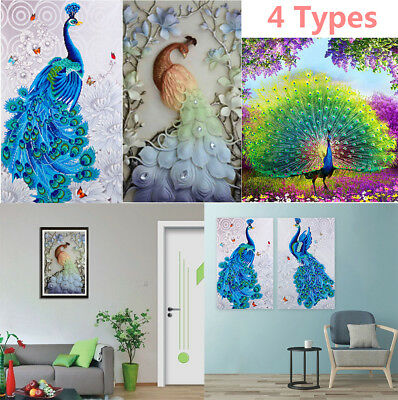 UK 4 Kind Full Drill Peacocks 5D Diamond Painting Embroidery Cross Stitch Kit