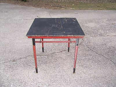 "Vintage Antique Red & Black Painted Wooden Folding Card Game Table 30"" x 29 1/2"""