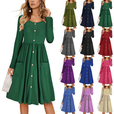 2019 UK Womens Party Pocket Buttons Long Sleeve Swing Winter Ladies Midi Dress