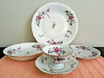 Wawel Sheraton Rose 5 Piece Place Setting; Made In Poland; Scalloped Gold Edge.