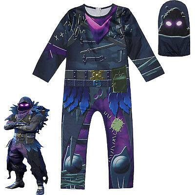 Kids Boys Fortnite RAVEN Cosplay Costume Fancy Halloween Jumpsuit Mask Outfits