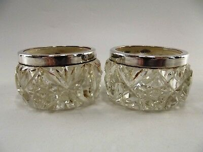 Pair Of Antique Silver Mounted Open Salts Chester 1920 Ref 300/1