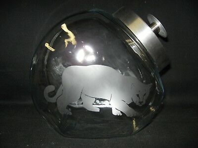 New Etched Cougar Puma Mountain Lion Glass Cookie Candy Storage Jar Canister