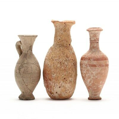 3 Authentic Diminutive Cypriot Hellenistic Bottles, One Ex. Morris Collection
