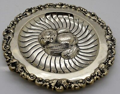 Austrian SOLID SILVER candy dish or CARD TRAY. Heavily repoussed FRUIT c.1900