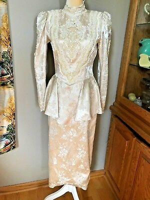 Vintage 80's Jessica McClintock Cream Lace Beaded Brocade Bridal Wedding Dress