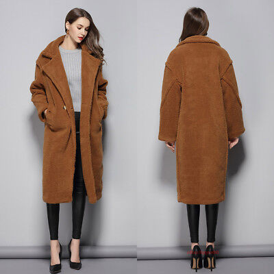 Luxury Mara CARRARA Women Teddy Bear Oversized Faux Fur Long Max Icon Coat