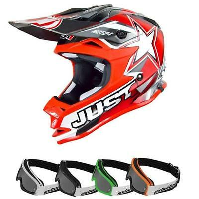 rosso-blu MOTOCROSS ENDURO MX Cross JUST1 CASCO MX J32 PRO RAVE
