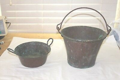 Vintage Old Solid Copper Bucket Pail Bowl with Handle 2 Different Nice Patina