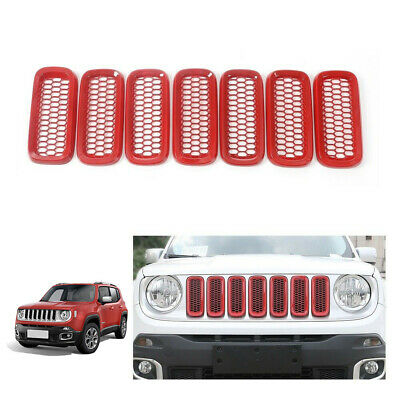 7pcs Front Grill Mesh Grille Insert Guard Cover Trim for 2015-2017 Jeep Renegade