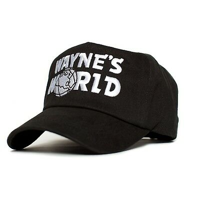 New Quality WAYNES WORLD Cooper Costume Embroidery Black Cap Hat 90's Party