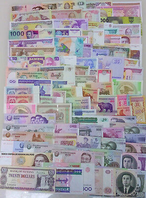 100 Different world Paper Money, UNC Genuine Banknote from about 30 countries!