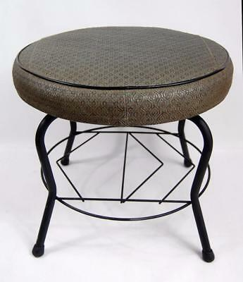 Vintage Round Swivel Sage Colored Footstool Eames Atomic Mid Century