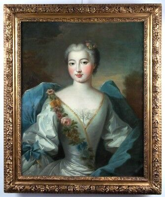 18th Century Amazing Oil Painting Portrait Of  Lady In Flora