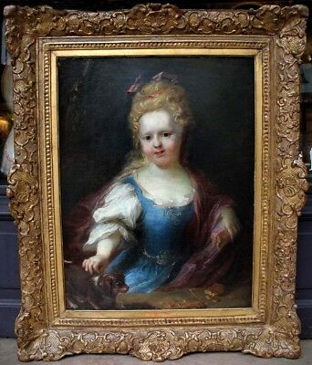 Amazing  Antique Oil Painting of a Girl with her Dog 18th Century