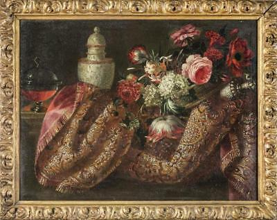 Amazing 18th Century Oil Painting Still Life With Fruit And Rug