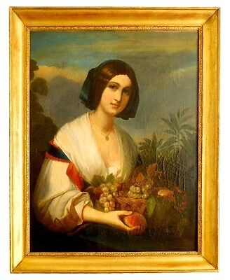 Amazing Portrait of Lady Allegory of Summer 19th Century Italian Oil Painting