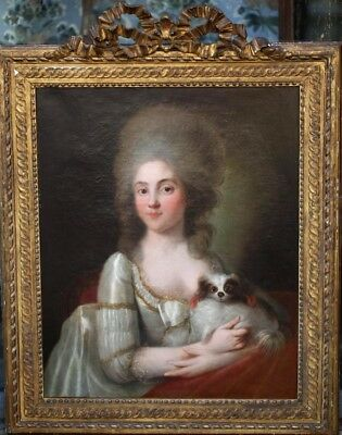 Lovely Portrait of a Lady with her Dog d. 1778 French Antique Original Painting