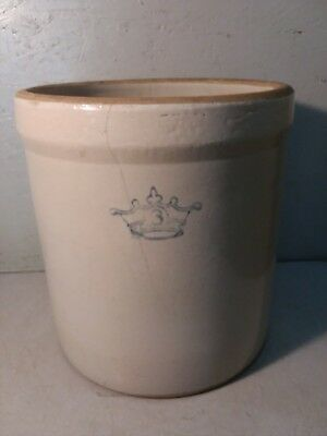Vintage 3 Gallon Blue Crown Stoneware Crock