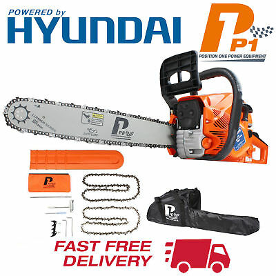"P1PE Petrol Chainsaw Heavy Duty Powerful 62cc 20"" 2 Stroke Powered By Hyundai"
