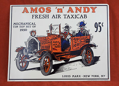 Amos 'n' Andy Tin Sign Fresh Air TaxiCab (A3L) Mechanical Toy Hit 95 Cents Marx
