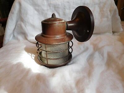 40s Vintage Mission Nautical Porch Wall Caged Light Fixture Copper&Steel