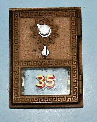 Vintage Brass Post Office Box Door W/frame Combination Lock