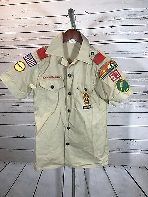 Vintage BSA Boy Scouts Official Shirt size 14 Patches greater Cleveland