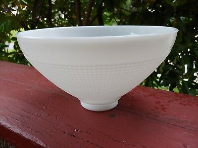 """Vintage Corning 10"""" Waffle Texture Milk Glass Torchiere Diffuser Shade"""