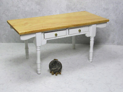 Dollhouse Miniature 1:12 Scale Wood Kitchen Table with Drawers