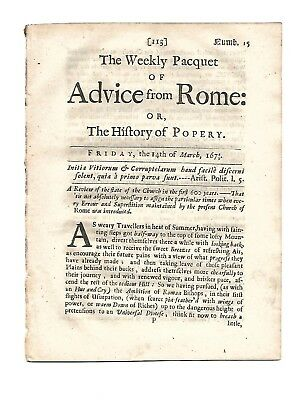 """Orig. 17c English paper """"THE WEEKLY PAQUET OF ADVICE FROM ROME""""  July 28,1678/9"""