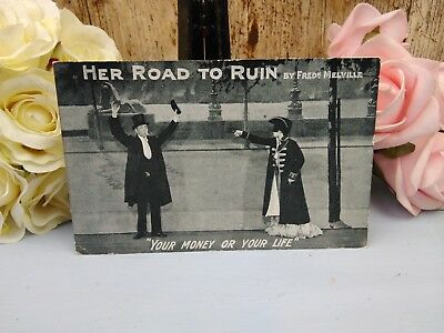 Her road to ruin - Your money or your life - Fred K Melville - 1909 postcard