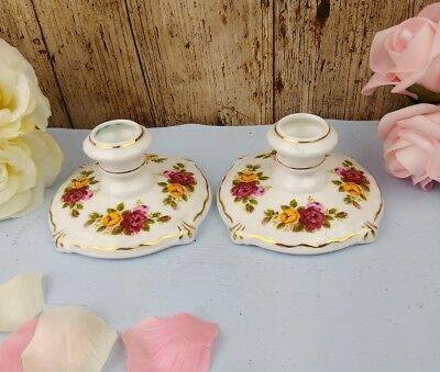 Royal Albert In Style Old Country Roses Pair Of Table Candle Holders
