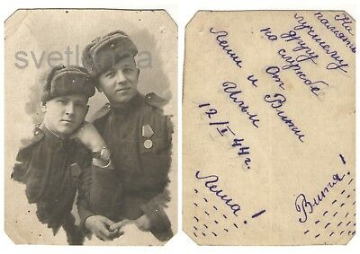 WW2 TWO SOVIET MILITARY MEN Handsome guy Russian Soldier Hat Ushanka MEDAL Photo