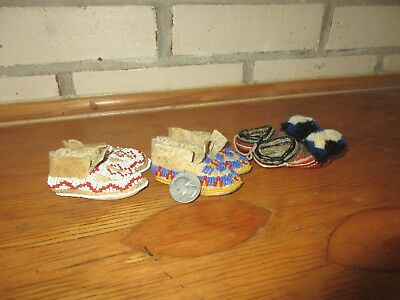 Vintage Native American Indian Leather Beaded Miniature Moccasins Lot of 3 Pair