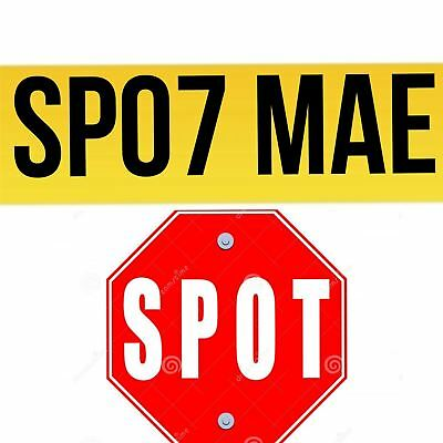 SP07 MAE SPOT SP07 Personal Private Car Registration Plate Number Initials Name