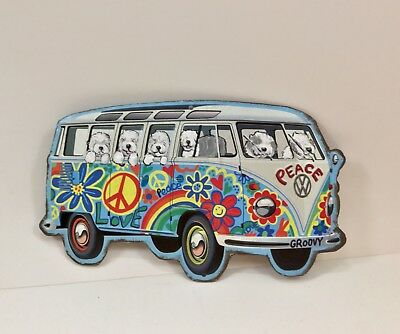 Hand painted Old English sheepdog metal sign Hippie Bus