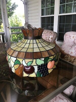 "24"" Vintage Stained Leaded Glass Chandelier Light Fixture-Fruit Design"