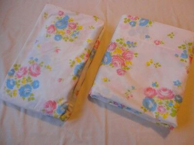 Vtg Penney's 1970's Percale Queen Size Flat & Fitted Sheets Pink Floral Print