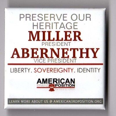 Merlin Miller political campaign button pin 2012 American Freedom Party #2