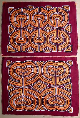 Pair of Hand-Stitched  Kuna Molas, with vibrant colors