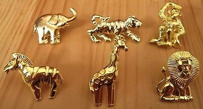 Vintage Zoo Animals Lapel or Hat Pins Lot of 6 Style Pins Gold Plate NEW