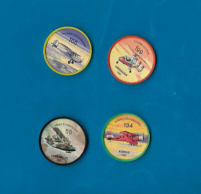 1960's Jello Airplane Coins Lot of 4  #s 55/134/166/199  NM-MT