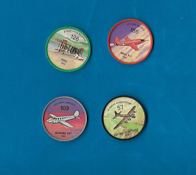 1960's Jello Airplane Coins Lot of 4  #s 57/103/126/186  NM-MT