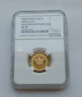 10$ Kanada 2009 30th Anniv. Maple Leaf Hologram NGC SP70 1/4 Oz. 999.9 Gold